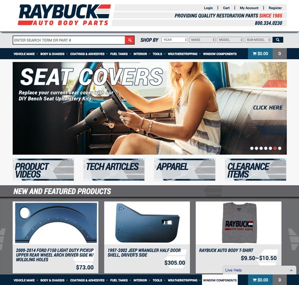 The revamped Raybuck.com homepage