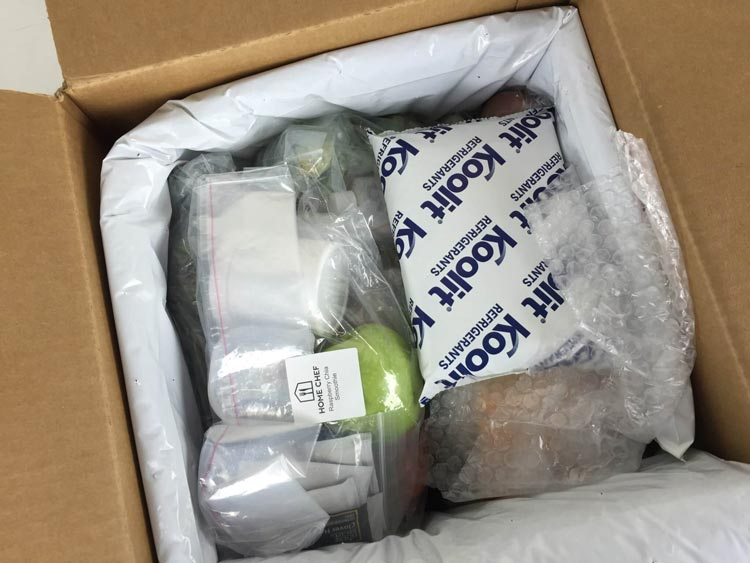 Home Chef box with insulation and ice packet