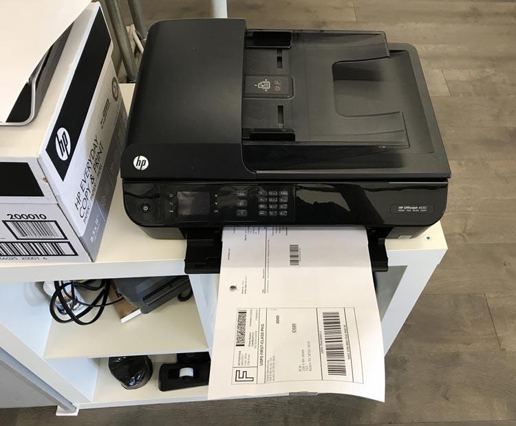 Dekstop printer and shipping label