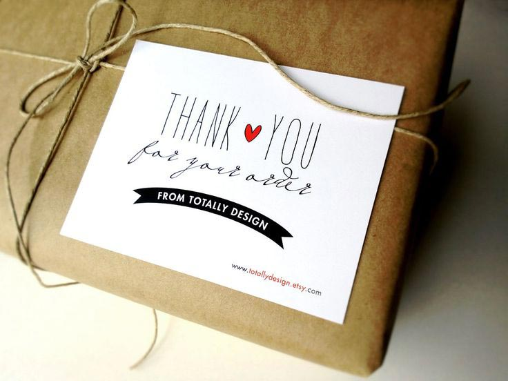 Thank you note in an order from Totally Design