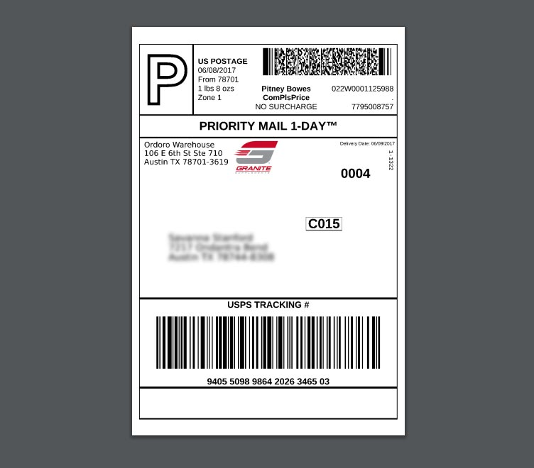 USPS label with Granite logo on it