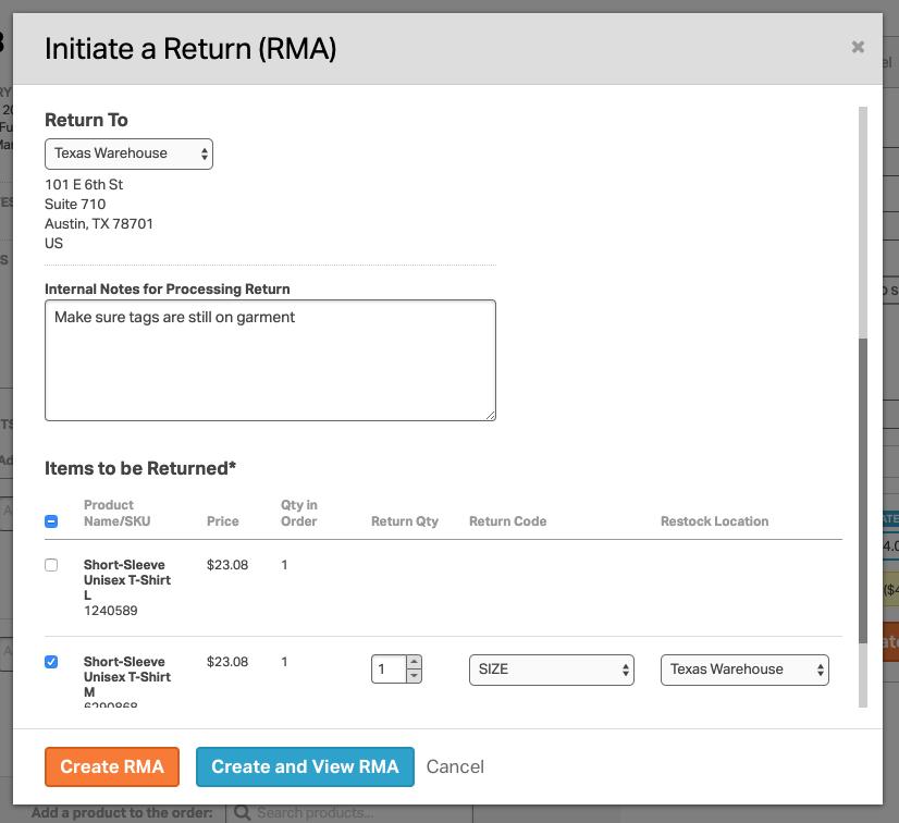 Screenshot of the Initiate a Return modal