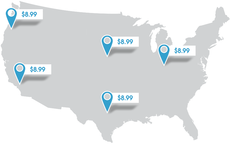 Map of USA with fixed shipping rates