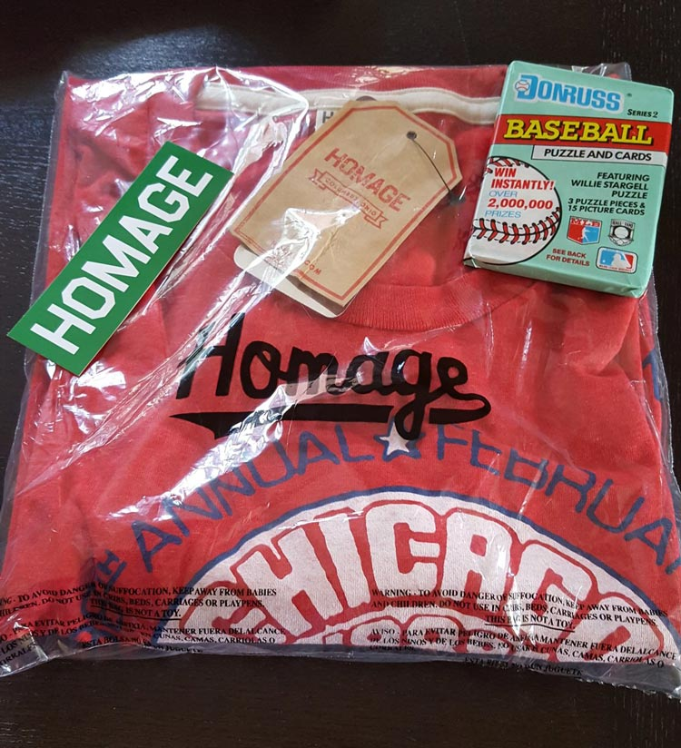 Homage t-shirt with complimentary sticker and baseball card pack