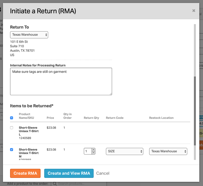 Screenshot of the Initiate a Return modal