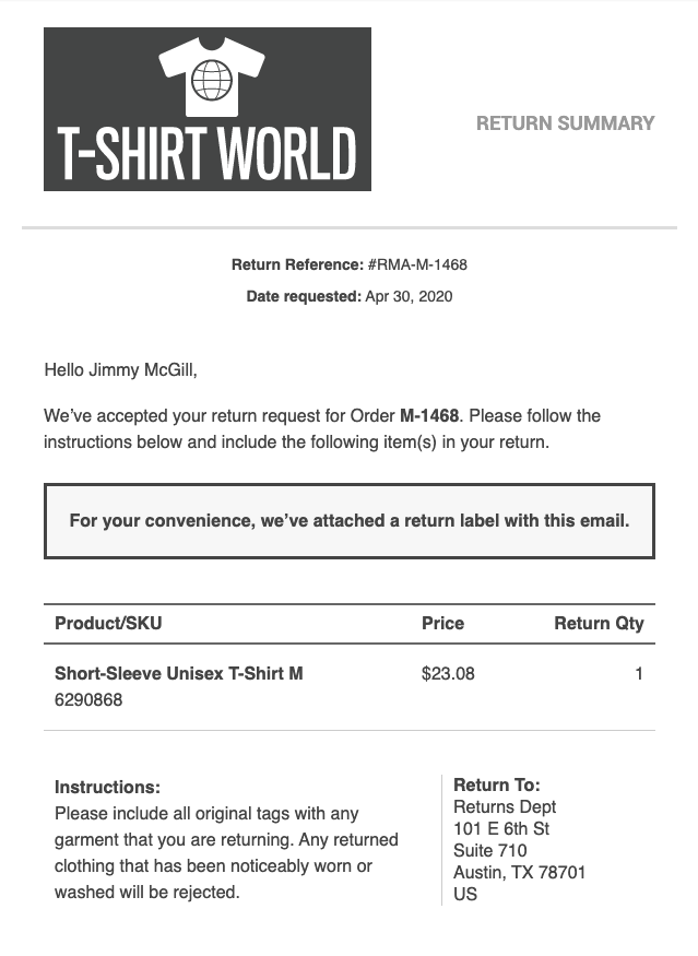 Screenshot of return label email template
