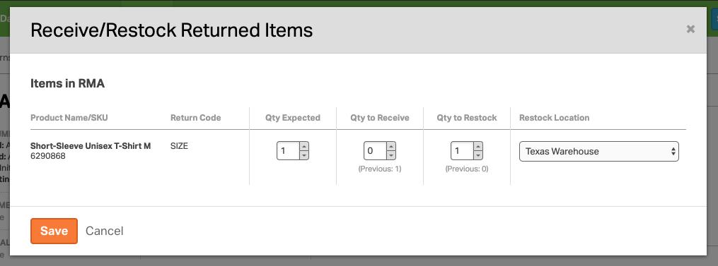 Screenshot of receive/restock modal