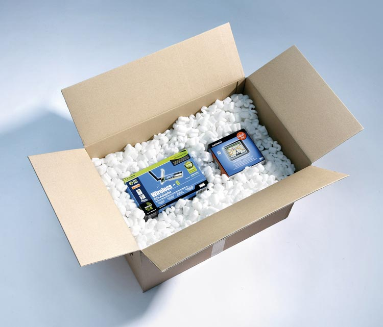 Box filled with packing peanuts