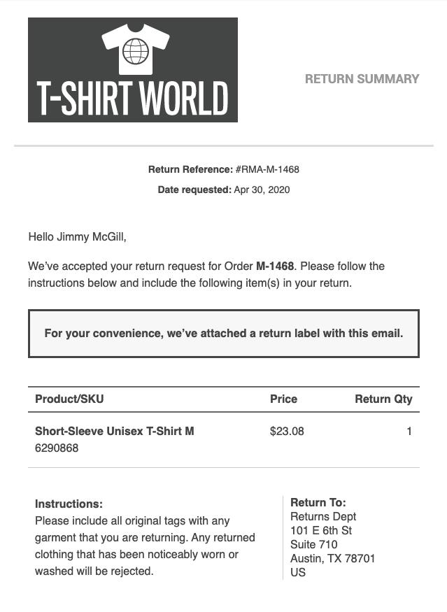 Screenshot of return label email template
