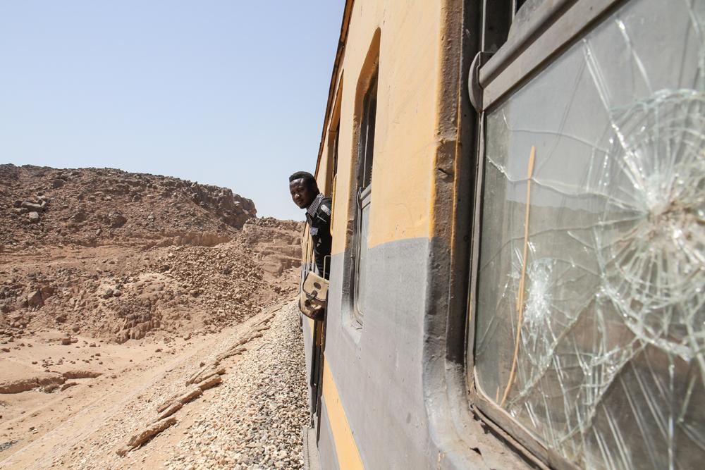 Aswan To Port Train Nasser Looking Out Door EGYPT