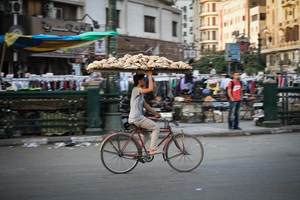 Cairo Pita Bread Sales On Bicycle EGYPT