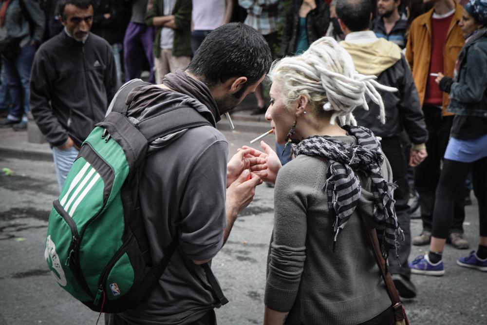 Istanbul Gezi Anniversary Protest Lighting a Smoke TURKEY
