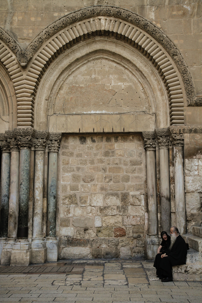 Jerusalem Outside Church Priest Woman Lines ISRAEL