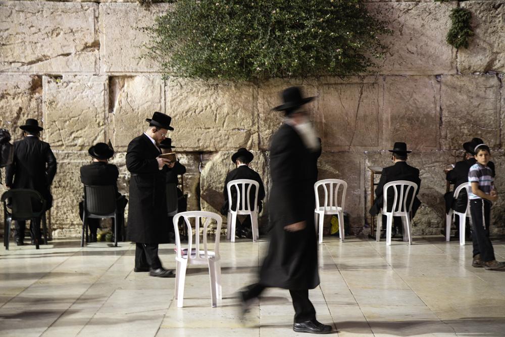 Jerusalem Western Wall At Night Shutter Orthodox Jews ISRAEL