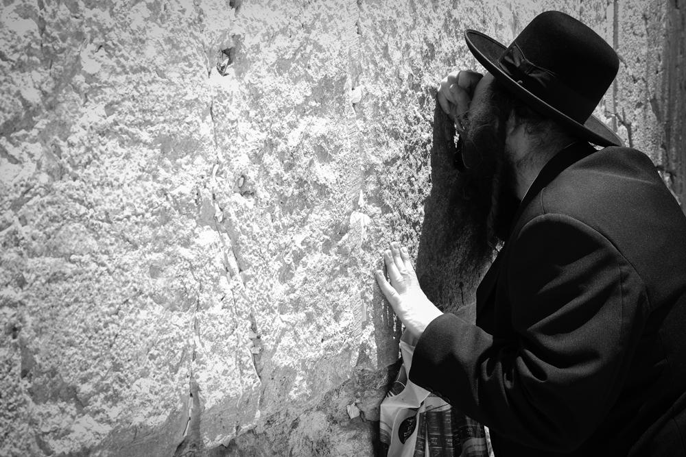 Jerusalem Western Wall Orthodox Jew Pray BlkWht ISRAEL