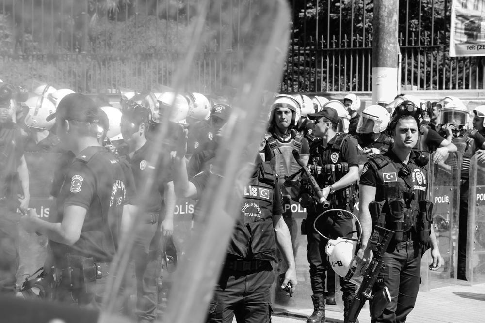 Riot Police in Istanbul Turkey June 2014 BlkWht TURKEY