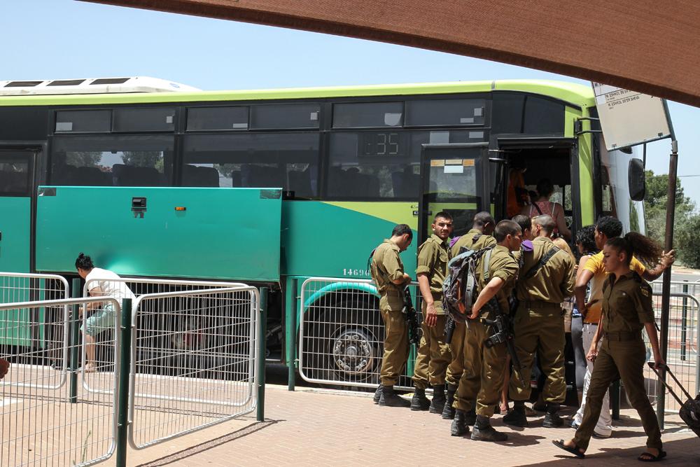 Taking a Bus in Israel Army Guns Girls ISRAEL