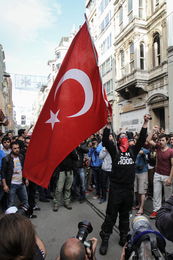 Taksim Square Protest Flag Fist TURKEY