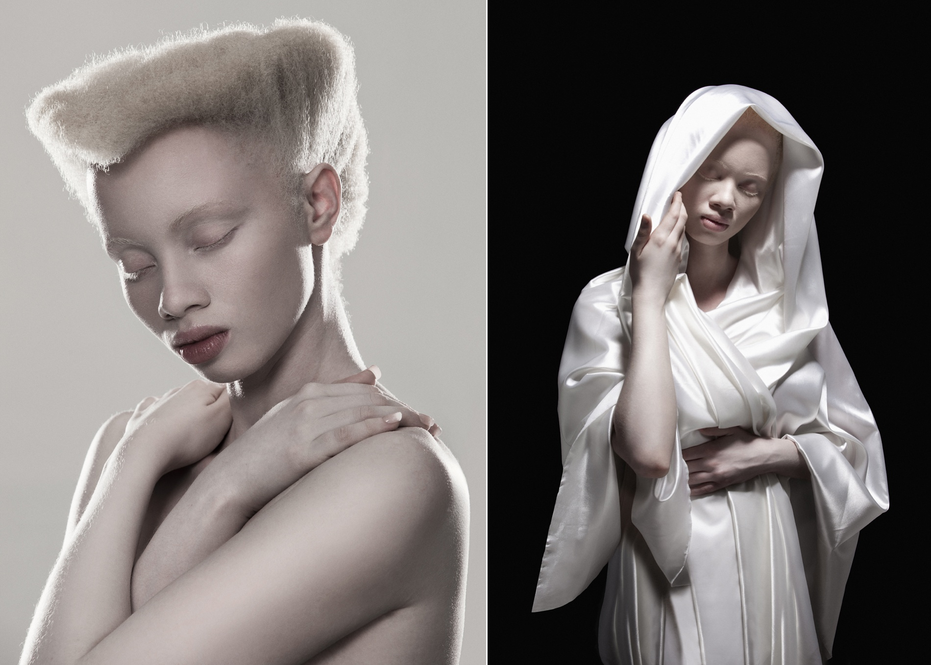 Albino Portrait Series by Justin Dingwall, the project explores the aesthetics of Albinism in contrast with the idealized perception of beauty.