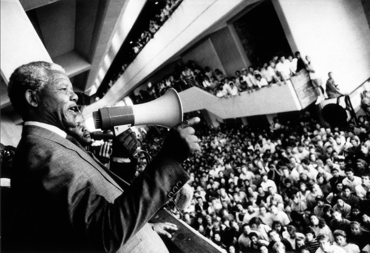 Nelson Mandela at Stellenbosch University in 1991 - Woordfees photography exhibition