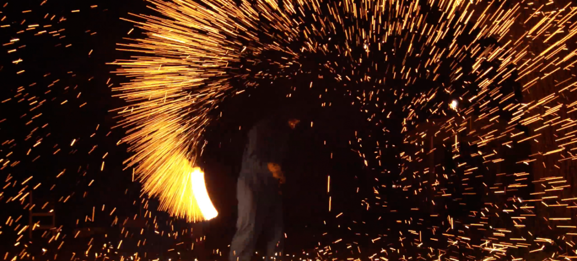 Flaming Wire Wool in 4K Slow Motion