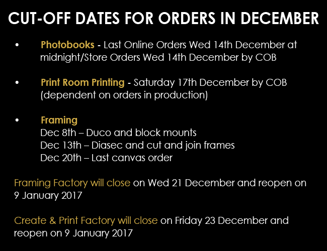 2016 Trading hours and cut off dates at Orms this holiday season.
