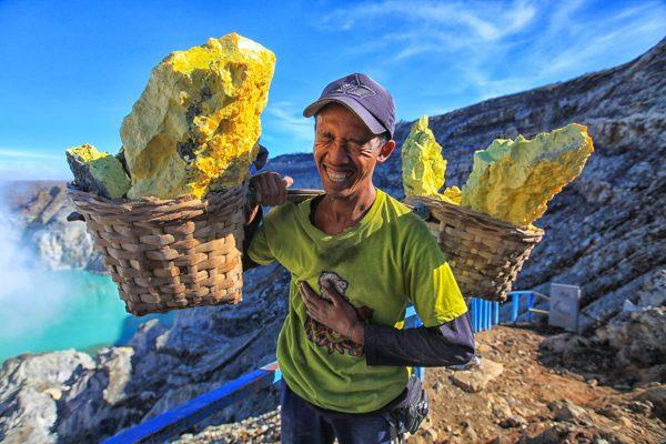 Sulphur Miner by Tadeja Horvat in East Java, Indonesia