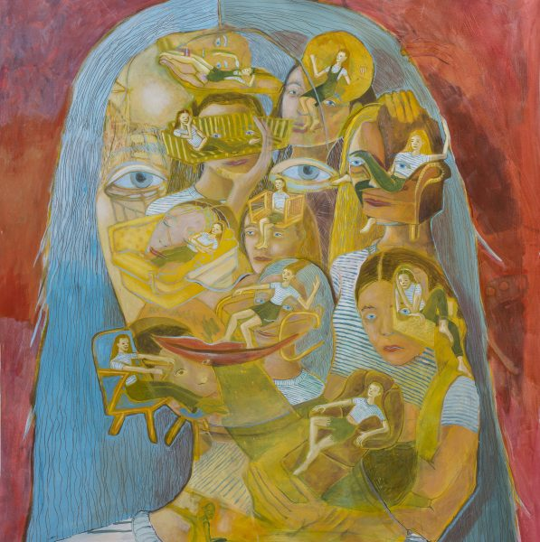 Marlene Steyn | in her feel her out her face mask | 2019 | Oil on Canvas | 213 x 157 cm