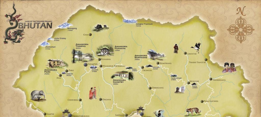 Amankora Bhutan Map