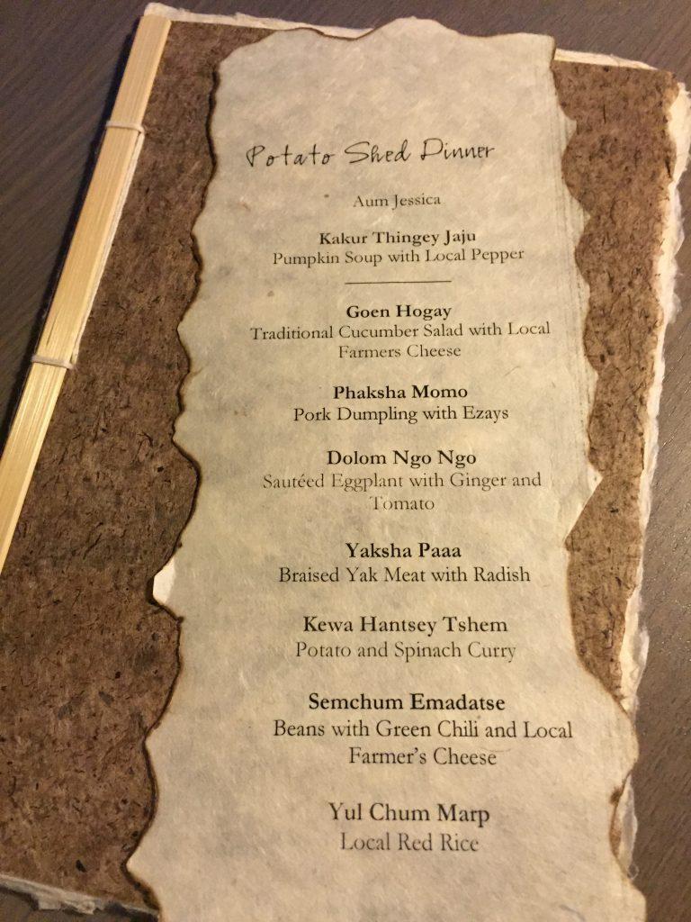 Potato Shed Dinner ~ Amankora Bhutan