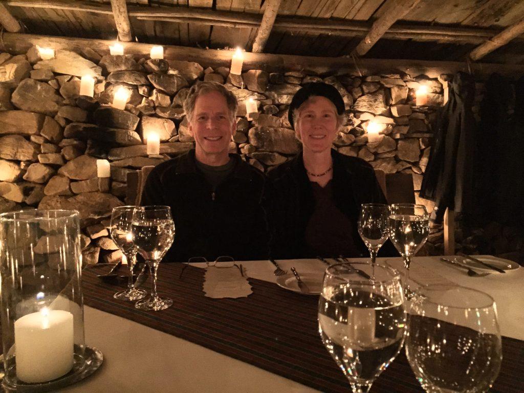 David and Claire enjoying dinner in the Bhutanese Potato Shed ~Amankora Bhutan