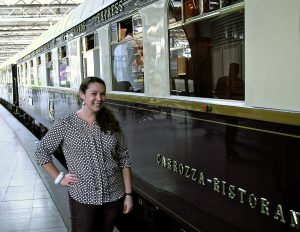 Jessica before boarding the ultra luxe Orient Express Venice Simplon.