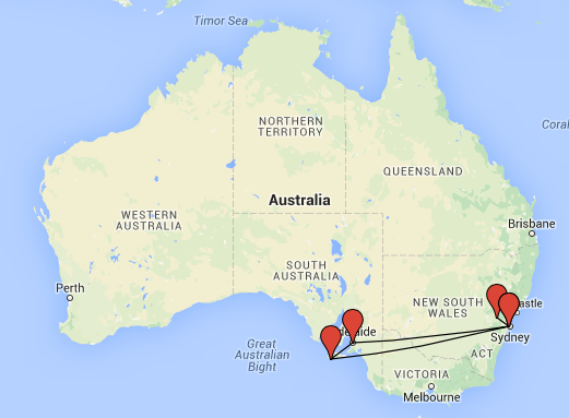 Australia Itinerary Map