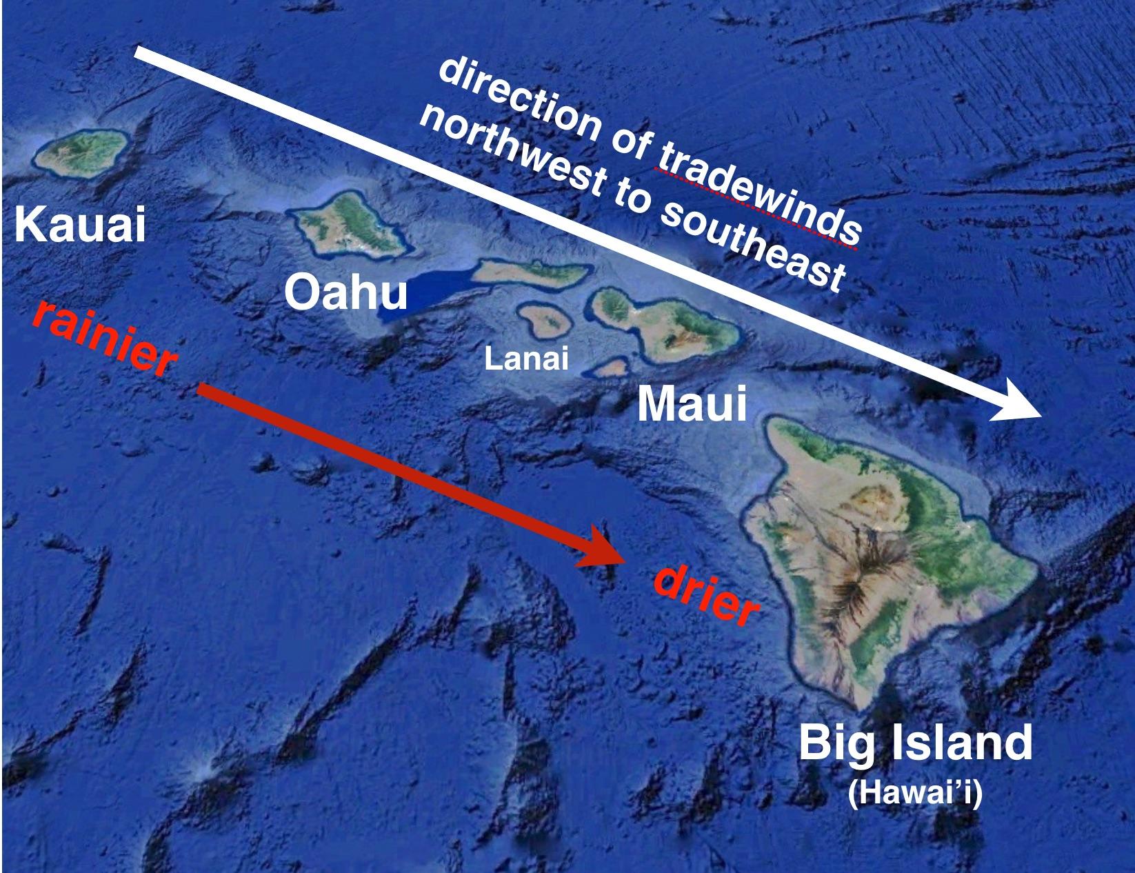 Islands of Hawaii - map