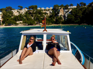 Our Travel Coordinators, Samantha and Angela, Enjoying Their Private Boat Charter