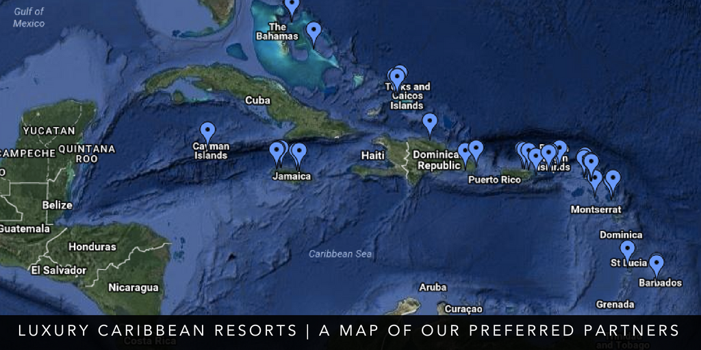 Map our Luxury Caribbean Resorts