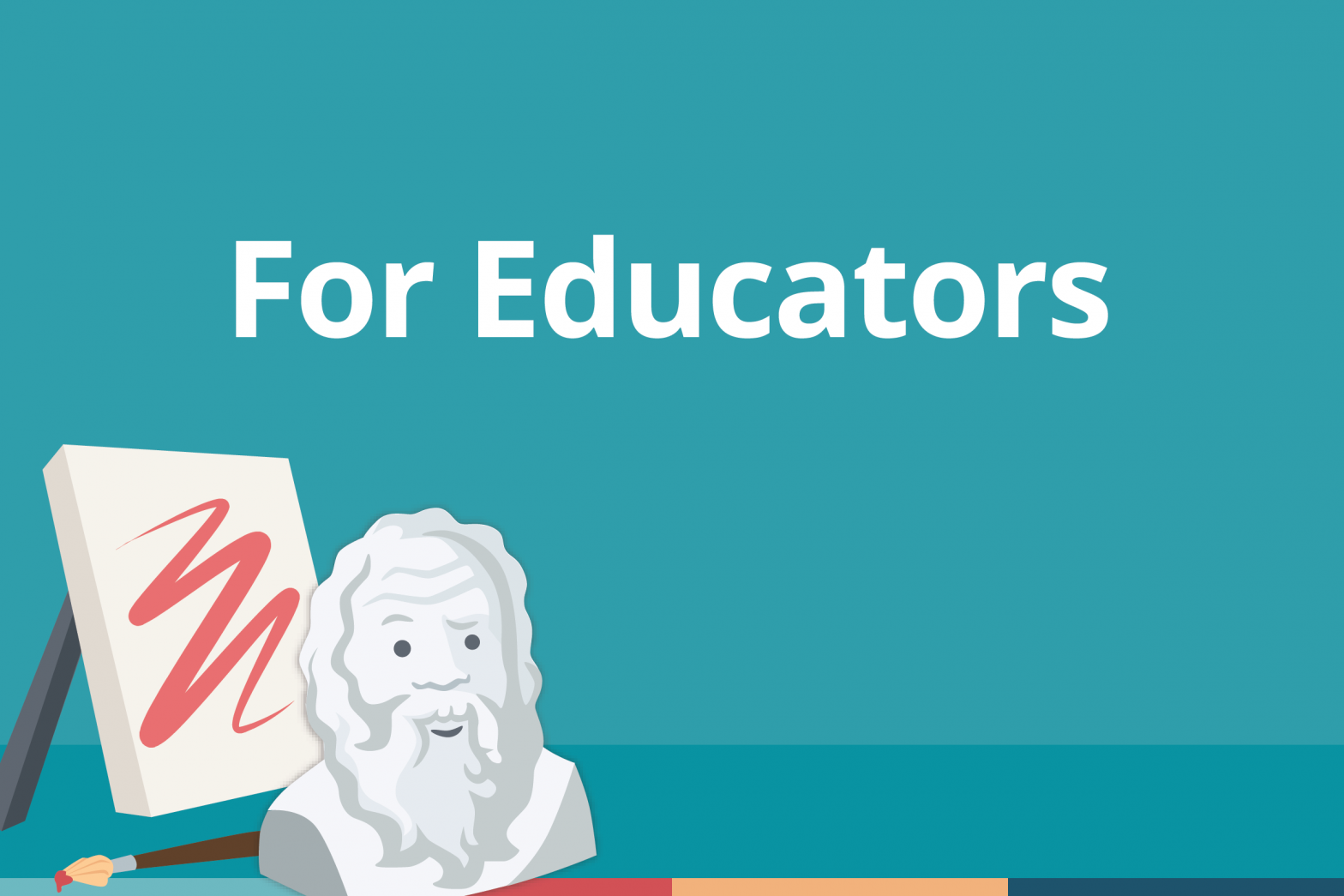 "Blog cover image that features the words ""For Educators"" and a decorative illustration of a bust of Socrates."
