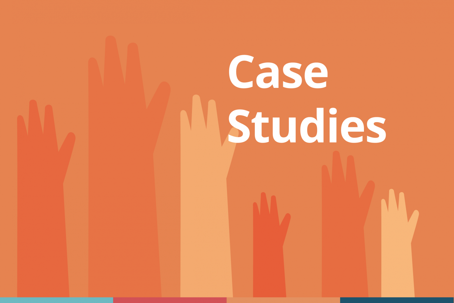"Decorative cover image for ""case study"" blogs which shows illustrated student hands raised in questioning, with the title ""Case Studies"" in text."