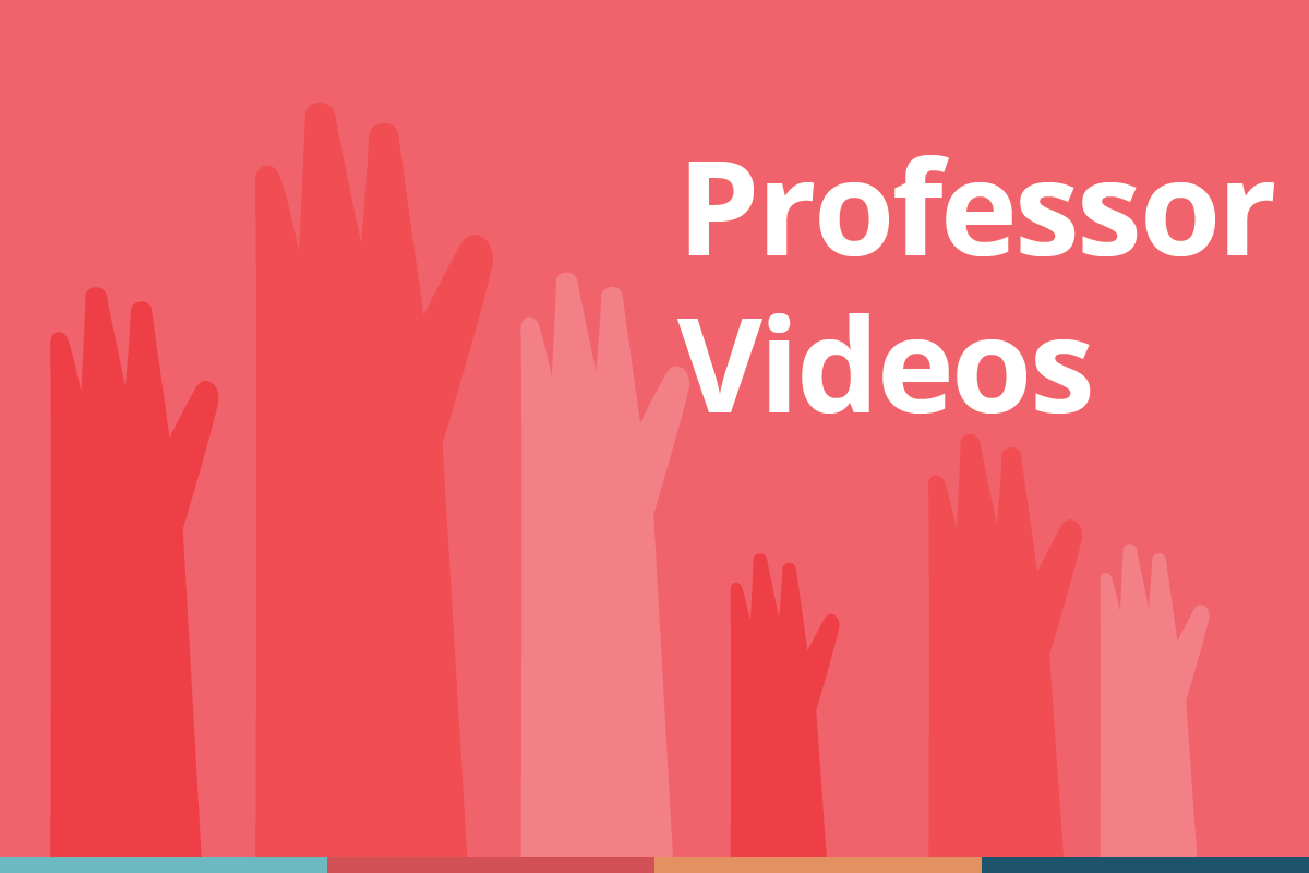 "Decorative cover image in shades of red for ""professor videos"" which shows illustrated student hands raised in questioning, with the title ""Professor Stories"" in text"