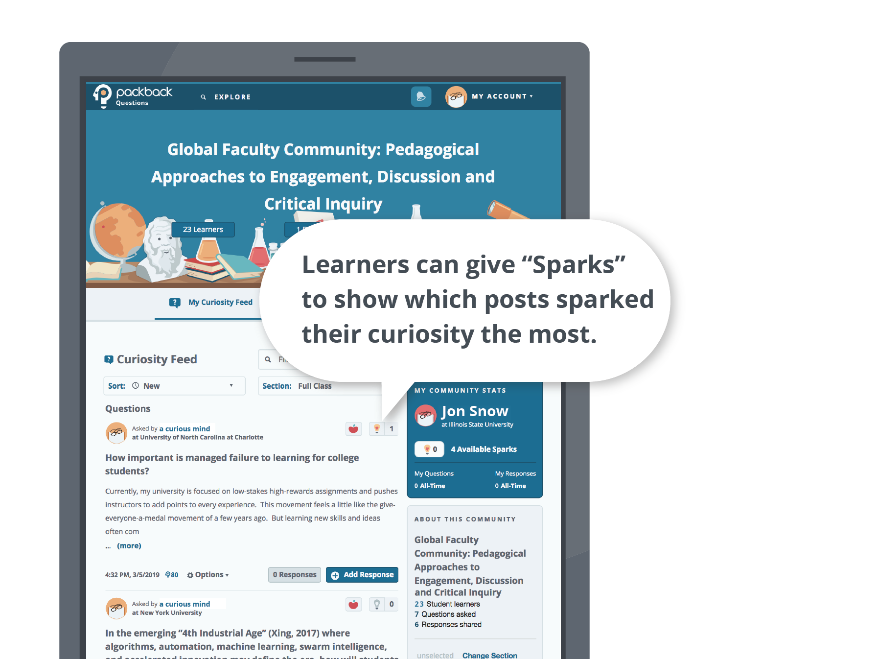 "Image showing a screenshot of a Packback community, with a graphic message overlaid showing a ""zoom in"" on Packback's Spark feature, which learners use to indicate which posts ""sparked"" their curiosity."