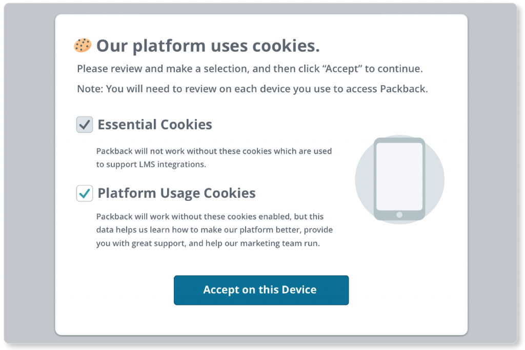 A screen explaining Packback's use of cookies