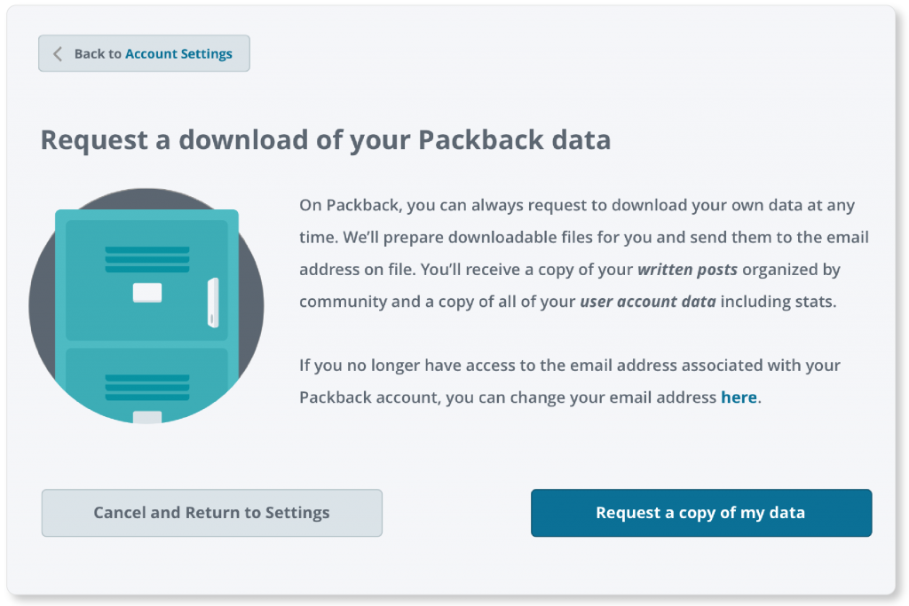 Screen of Packback's 'request a download of your Packback data' screen