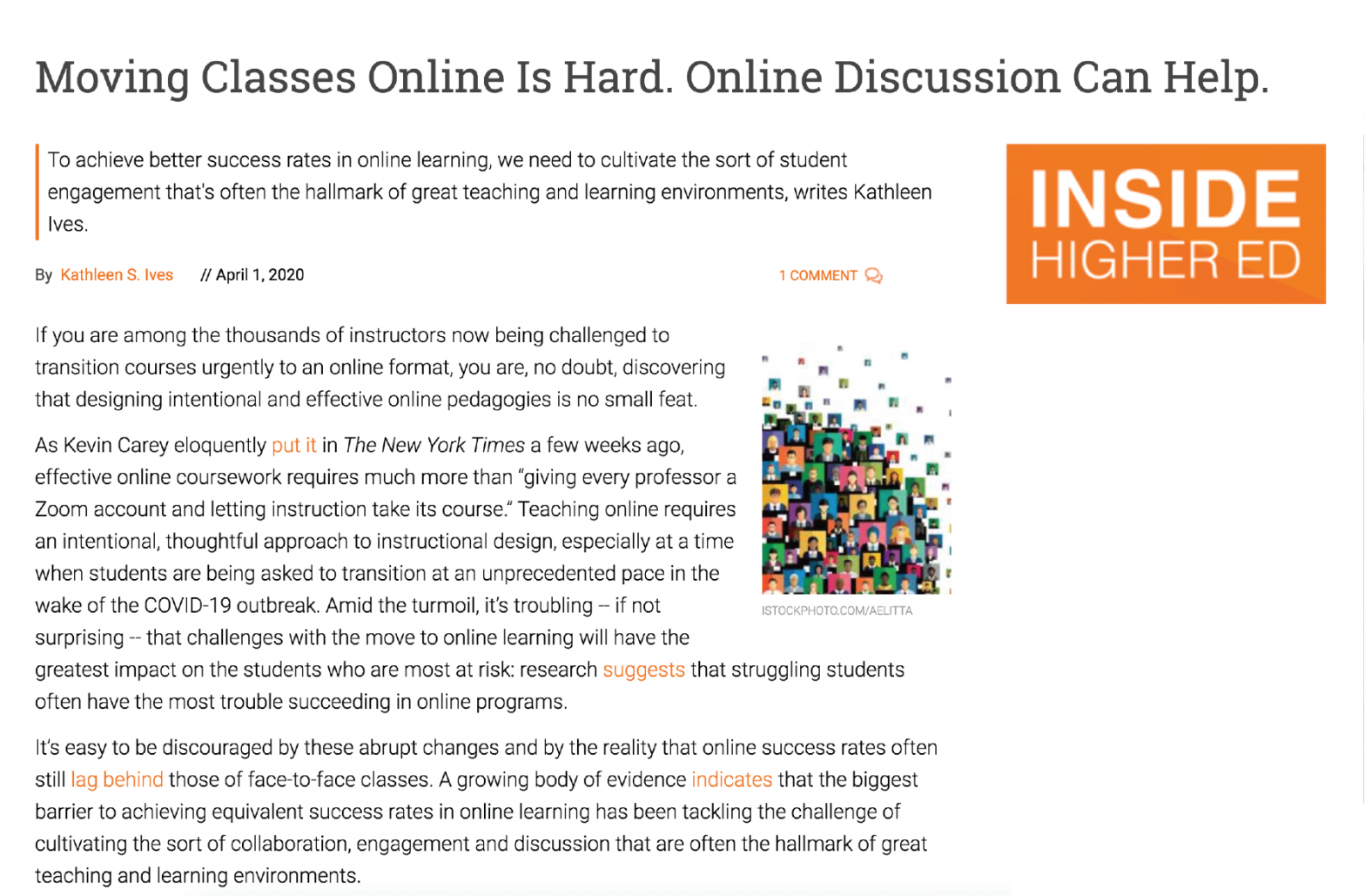 screenshot of article in Inside Higher Ed