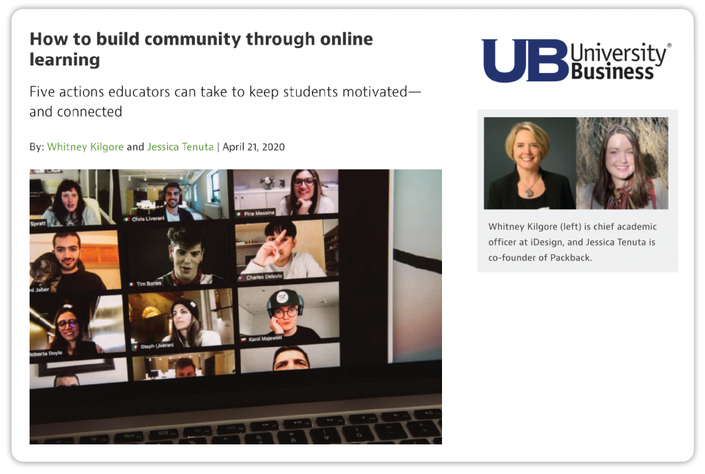 "Screenshot of University Business article, ""How to Create Community through Online Learning"""