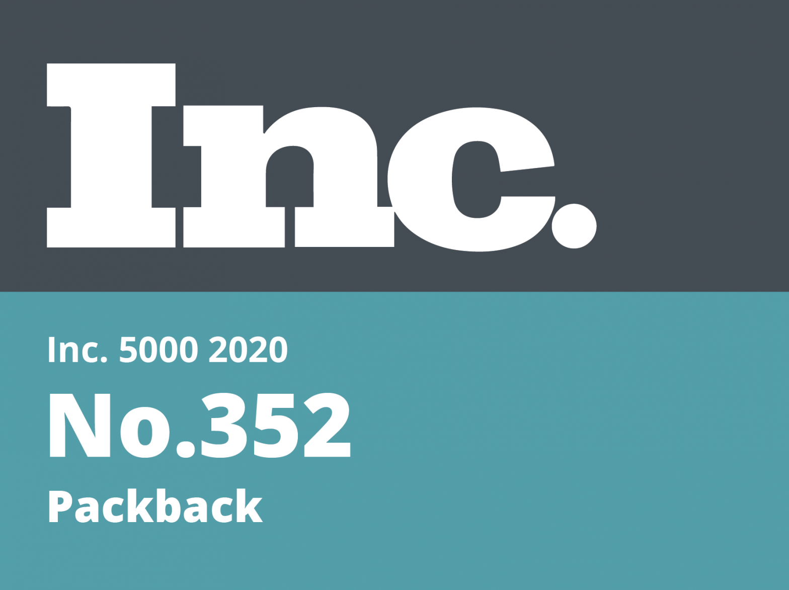 Image showing the INC. logo and text showing Packback and the ranking #352