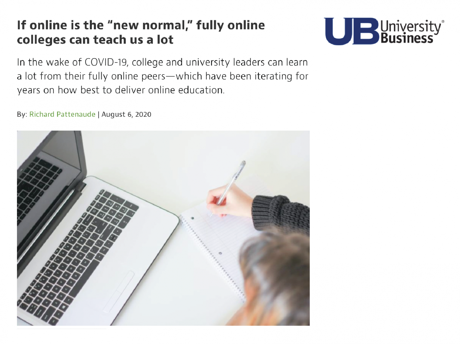 Screenshot of article from University Business
