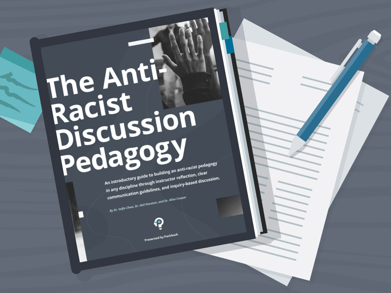 Illustration showing the Anti-Racist discussion Pedagogy guide on a desk