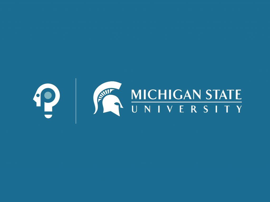 Packback logo next to Michigan State University logo on blue background