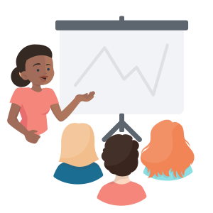 Illustration of instructor teaching at a projector screen