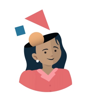 Illustration of instructor with abstract shapes coming out of her head